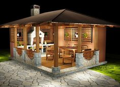 a small-house for the garden, gazebo ideas. a small-house for the garden, gazebo ideas. Backyard Kitchen, Outdoor Kitchen Design, Small House Garden, Home And Garden, Backyard Patio Designs, Backyard Landscaping, Backyard Ideas, Patio Ideas, Outdoor Rooms