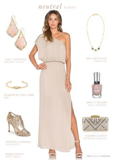 Neutral maxi dress and accessories