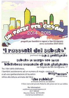 "San Gimignano, Un Paese per Giovani presenta ""I racconti del sabato"" https://www.facebook.com/baccano.san.gimignano/photos/a.756053444450496.1073741828.756028791119628/805736532815520/?type=1&theater … #sangimignano"