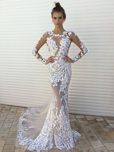 Trumpet/Mermaid Scoop Neck Tulle Appliques Lace Sweep Train Long Sleeve Sexy Wedding Dresses #UKM00022861