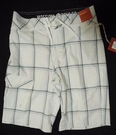 87999be704 Mossimo Below Knee Board Shorts Swim Trunks True White Striped Plaid 28  Waist #Mossimo #