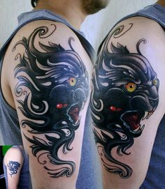 Panther neotraditional tattoo by hueso