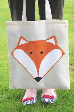 Mr Fox Hand Painted Tote Bag £12.00