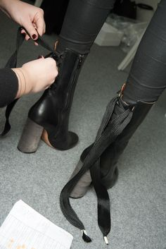 Lace up.. #Chloe #Fall15 #LaceUp #Heels #Boots #Runway #BTS