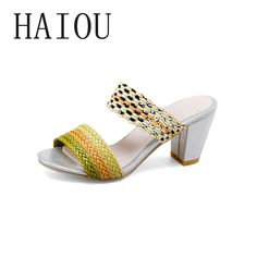 2017 New Sexy High Heels Platform Shoes Sandals Summer Woman Slippers Slip on Pumps Casual Women Shoes Peep Toe Women Sandals