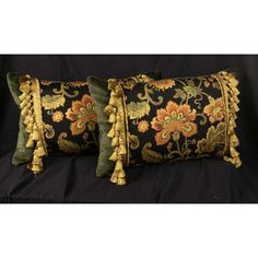 Our Handcrafted Decorative Pillows : Bergamo Floral Woven and Clarence House Velvet Designer Pillows