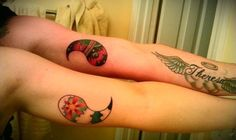 """Love This Idea     ***(Half&half tattoos. Brother&sister. Day&night. Yin&Yang. Best friends. My brother and I planned on getting yin yang halves for about four years but once I turned eighteen in April we decided to get serious and think of more complex designs. We are similar but opposites at the same time and we both complement and complete eachother. Now we've got proof to last us a lifetime."""""""