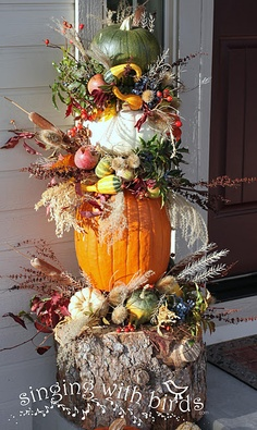 pumpkin topiary with a tree stump Fall Topiaries, Pumpkin Topiary, Thanksgiving Decorations, Fall Decorations, Seasonal Decor, Holiday Decor, Fall Arrangements, Fall Wreaths, Fall Halloween