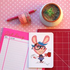 Rabbit blogger greeting card by #TerrapinAndToad. A fun, brightly coloured cartoon rabbit greeting card. Perfect for your favourite blogger or writers birthday.