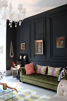 black feature wall olive green velvet chesterfield - Swoon Worthy - LivingEtc House Tour