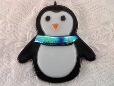 Fused Glass Penguin Christmas Ornament, Holiday Home Decor. $10.00, via Etsy.