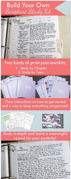 to build your own scripture study kit! Build your own scripture study kit! There are two kind - study by chapter or study by topic! And you can just print them! Bible Study Tips, Scripture Study, Bible Lessons, Scripture Journal, Bible Study Crafts, Prayer Journal Printable, Scripture Crafts, Printable Scripture, Devotional Journal