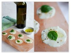 The Italian Dish - Mozarella slices with a little olive oil and basil leaves…