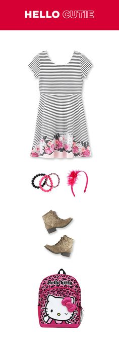 Get your girl ready to go back to school with a smile on her face. Pops of pink are perfect and show off her floral side, while on-trend boots satisfy her edgy side.