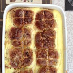 Bread and butter hot cross bun pudding