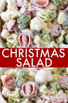 Christmas Salad Christmas Salad - Contains all the colors of Christmas! This fresh, bright salad is made with broccoli, cauliflower, red onion and cherry tomatoes mixed with a creamy dressing. Christmas Salad Recipes, Holiday Recipes, Christmas Foods, Christmas Potluck, Christmas Meal Ideas, Christmas Dinner Side Dishes, Christmas Dinners, Christmas Sweets, Rustic Christmas