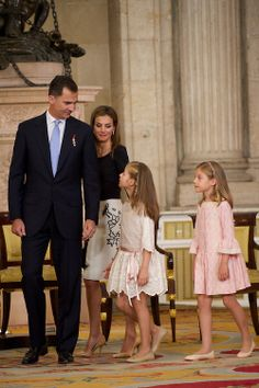 Spanish Crown Prince Felipe, Crown Princess Letizia with their two daughters, Infanta Leonor and Infanta Sofia, during the King Juan Carlos of Spain signs the Act of Abdication at the Royal Palace, 18.06.2014 in Spain.
