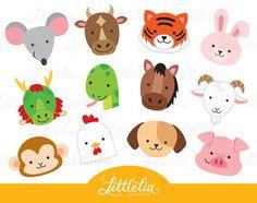 Chinese zodiac head - cute animal head - 16071