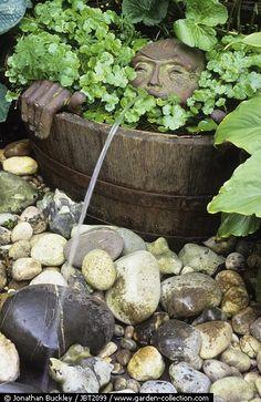 Whimsical barrel fountain
