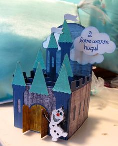 A happy Olaf box card. Castle from SVGcuts