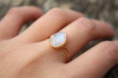 White Moonstone Ring - Teardrop - Vermeil Gold, Stacking Ring, June Birthstone, June Birthdays. $57.00, via Etsy.