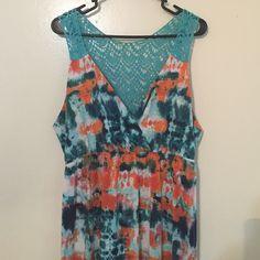 Maxi Dress with Crocheted Back Orange, dark/light blue maxi dress. Crocheted back. Perfect for summer!! Faded Glory Dresses Maxi