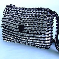Up-cycled soda Can Tab Purse in Black