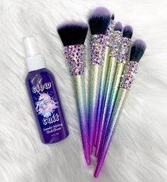 Lavender Makeup Brush Cleaner and Brushes from www.glowcult.com