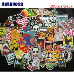 200pcs No Repeating Waterproof Sticker For Laptop Trunk Skateboard Guitar Fridge Decal Random Mixed Car Styling Stickers #Affiliate