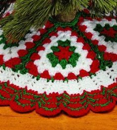 "That skirt is 36"" in diameter.Christmas Crochet Tree Skirt 