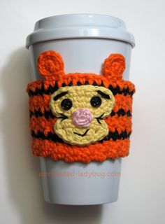 Free crochet tigger coffee cup cozy pattern. This lovable Disney character will bring lots of fun to your coffee cup. Free crochet pattern download