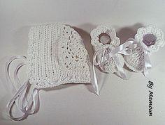 Béguin et chaussons rétro vintage crochetés main en coton