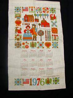 Vintage 1976 Adorably Retro Tea Towel Calendar.