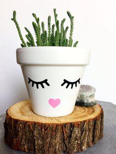 Face Planter - Cute Flower Pot - Eyelash Studio - Eyelashes - Faceplanter - S. Painted Plant Pots, Painted Flower Pots, Flower Pot Crafts, Clay Pot Crafts, Flower Pot People, Fleurs Diy, Decorated Flower Pots, Face Planters, Pot Plante