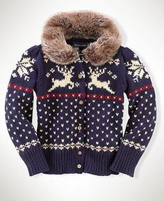 Ralph Lauren Kids Sweater, Little Girls Reindeer Cardigan - Kids Girls 2-6X - Macy's