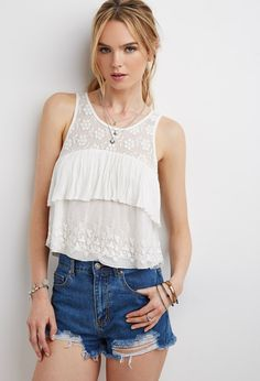 Embroidered-Mesh Layered Top | Forever 21 - 2000155527