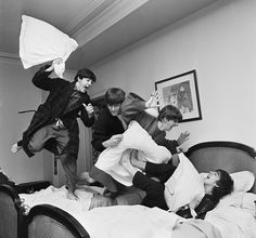 The Pillow Fight by Harry Benson, and further proof that Ringo is the best Beatle. Look at him trying to scare George!