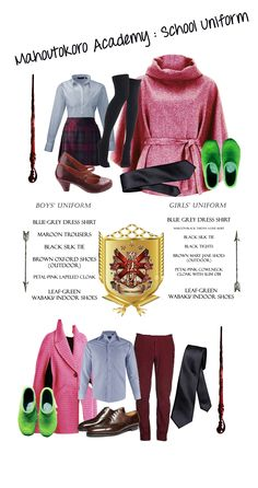 #wizardingSchools uniform #Mahoutokoro. contains : blue-grey dress shirt, black silk tie, maroon trousers (boys), oxford shoes (boys/outdoor), sakura-colored lapeled cloak jacket (boys), black-maroon tartan a-line skirt (girls), black tights (girls), brown mary-janes (girls/outdoor), sakura-colored cowlneck cloak smock with light obi (girls)  both pink outerwears are hip lengths and the inner shirts are visible, both gender have to wear leaf-green slippers when they are indoors