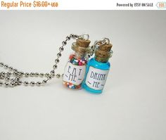 BF SALE Eat Me & Drink Me Glass Vial Necklace Set  by RedQueenMisc