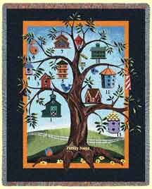 Birdhouse family tree quilt  My grandson asked me on day why do you have some many bird in you house. I told him I love to be outside so this is a way to bring the outside in the house.