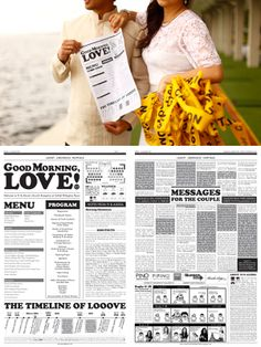 Wedding program//love story newspaper    Our Breakfast Wedding | Life After Breakfast