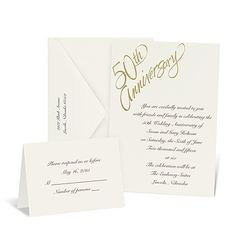 Golden Th Anniversary Invitation Black  White  Invitations