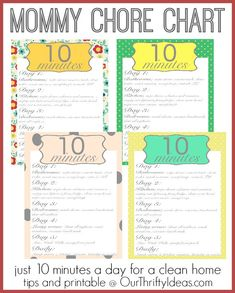 Free printable of a Mommy Chore chart that helps you get and keep your house clean with just 10 minutes a day: