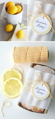 How sweet Lemony Lemon Bread - Recipe + Free PDF Printable Label. Love the bakers twine and parchment wrapping.  Nice to take for coffee with the girls :)