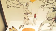 Hermès 'Cricket Drawing' Window Display.  More photos on: http://thebwd.com/hermes-cricket-drawing-window-display/