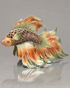 "Jay Strongwater ""Namiko"" Japanese Fighting Fish Figurine"