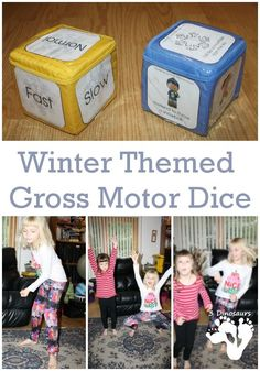 Free Snowy Winter Gross Motor Dice for Indoor Fun - 6 winter movements on a dice with a speed dice. Gross Motor Activities, Movement Activities, Gross Motor Skills, Winter Activities, Physical Activities, Indoor Activities, Learning Activities, Preschool Activities, Preschool Winter