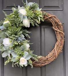 Excited to share this item from my shop: Summer Succulent Wreath for front door with white roses and Lambs Ear, spring wreath for front door, indoor or outdoor use, textured greens Diy Spring Wreath, Spring Door Wreaths, Diy Wreath, Grapevine Wreath, Wreath Ideas, Winter Wreaths, Burlap Wreaths, Holiday Wreaths, Mesh Wreaths