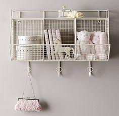 Baby Girl Bedroom Storage Shelves Ideas - Image 14 of 21 Bedroom Storage Shelves, Girls Bedroom Storage, Cubby Storage, Wall Shelves, Storage Shelving, Wire Storage, Food Storage, Diaper Storage, Restoration Hardware Baby