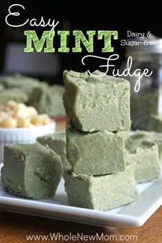 """Did you know tomorrow is National Peppermint Patty day? I have a recipe for sugar free & vegan mint fudge that's easy to make tonight – so you can slice and dip in chocolate to make """"peppermint patties"""" for tomorrow!"""